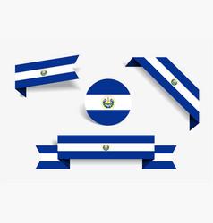 el salvador flag stickers and labels vector image