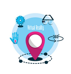 Elements with global virtual reality experience vector
