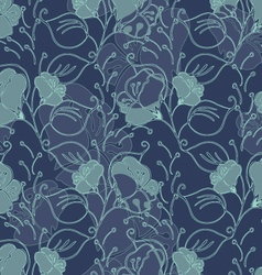 Fabric design flower blue and green vector