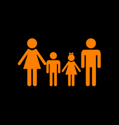 family sign orange icon on black background old vector image