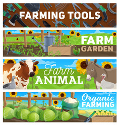 Farm gardening farming agriculture tools animals vector