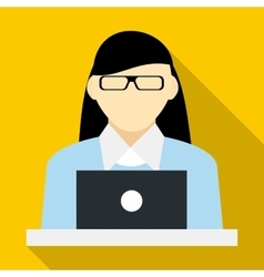 Female consultant icon flat style vector