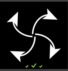 Four arrows in loop from center white icon vector