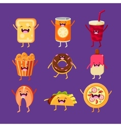 Fun fast food Dishes with cute faces happy vector image