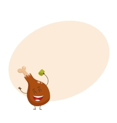 Funny roasted fried grilled chicken leg vector
