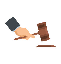 gavel in hand icon flat style vector image