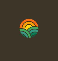 Geometric round logo icon sun and field farm vector