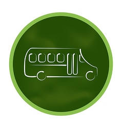 Green icon stylized chalkboard with school bus vector image vector image