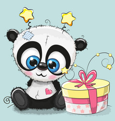 greeting card cute panda with gift vector image