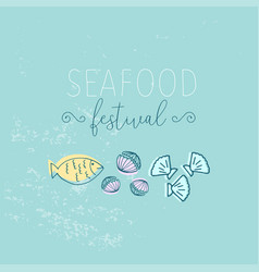 hand drawn seafood vector image