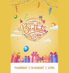 Happy birthday design with party element vector
