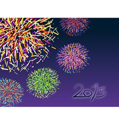 Happy new year 2015 with colorful firework vector image