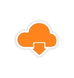Icon sticker realistic design on paper cloud vector