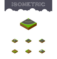 isometric road set of repairs turn turning and vector image