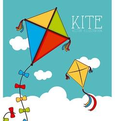 Kite design over cloudscape background vector