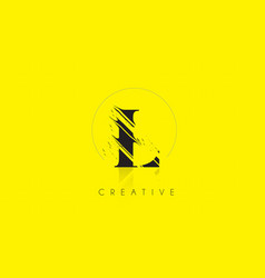 l letter logo with vintage grundge drawing design vector image