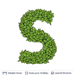 letter s symbol of green leaves vector image