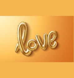 Love realistic rubber balloon on gold vector