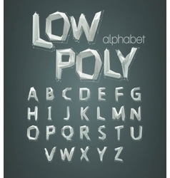 low poly alphabet font vector image