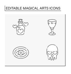 Magical arts line icons set vector