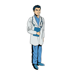 Male doctor with lab coat in his office holding a vector