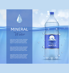 Mineral water plastic bottle with clean sparkling vector