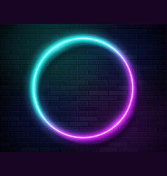 neon glowing circle frame for banner on dark empty vector image