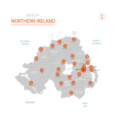 northern ireland map with administrative divisions vector image