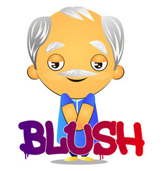 Old man blushing on white background vector