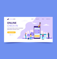 online check-in landing page concept vector image