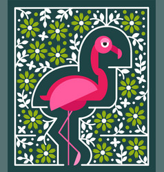 pink flamingo with flowers tropical bird vector image