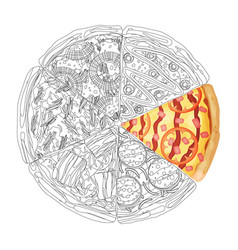 pizza from different slices top view isolated on vector image