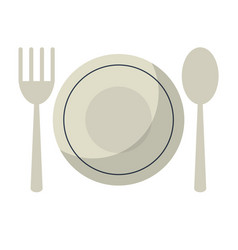 Plate spoon fork utensils vector