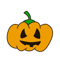 pumpkin hand drawn flat line icon on white vector image