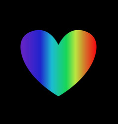 rainbow gradient heart icon isolated on black vector image