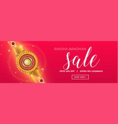 Raksha bandhan sale banner concept with golden vector
