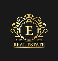 real estate monogram logo templateluxury vector image