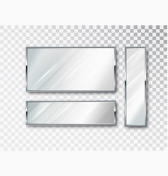 realistic mirror isolated set mirror frame white vector image