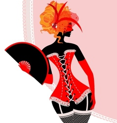 red lady in corset with fan vector image