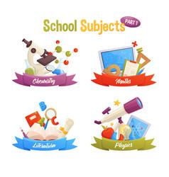 school subjects set include cartoon elements vector image