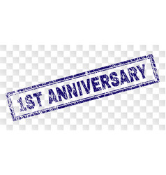 Scratched 1st anniversary rectangle stamp vector
