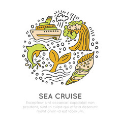 sea cruise hand draw cartoon icon concept waves vector image