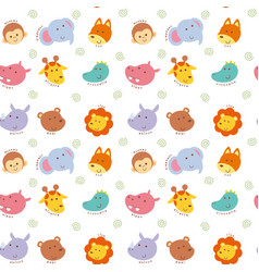 Seamless pattern cute wild animal vector