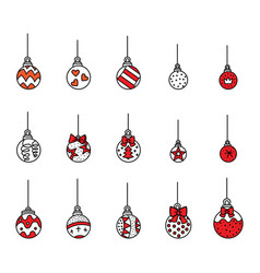 set cute colorful christmas tree ball vector image