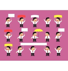 Set of office workers with blank banners vector image