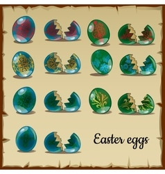 Set of whole and broken easter eggs vector