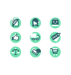 set shopping icons with card payment delivery vector image