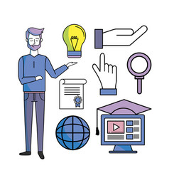 set study man with education online knowledge vector image