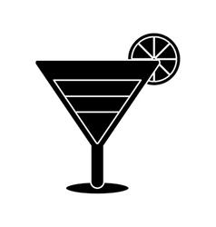 Silhouette soft drink cocktail lemon vector