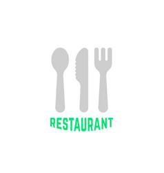 simple restaurant logo with silverware vector image